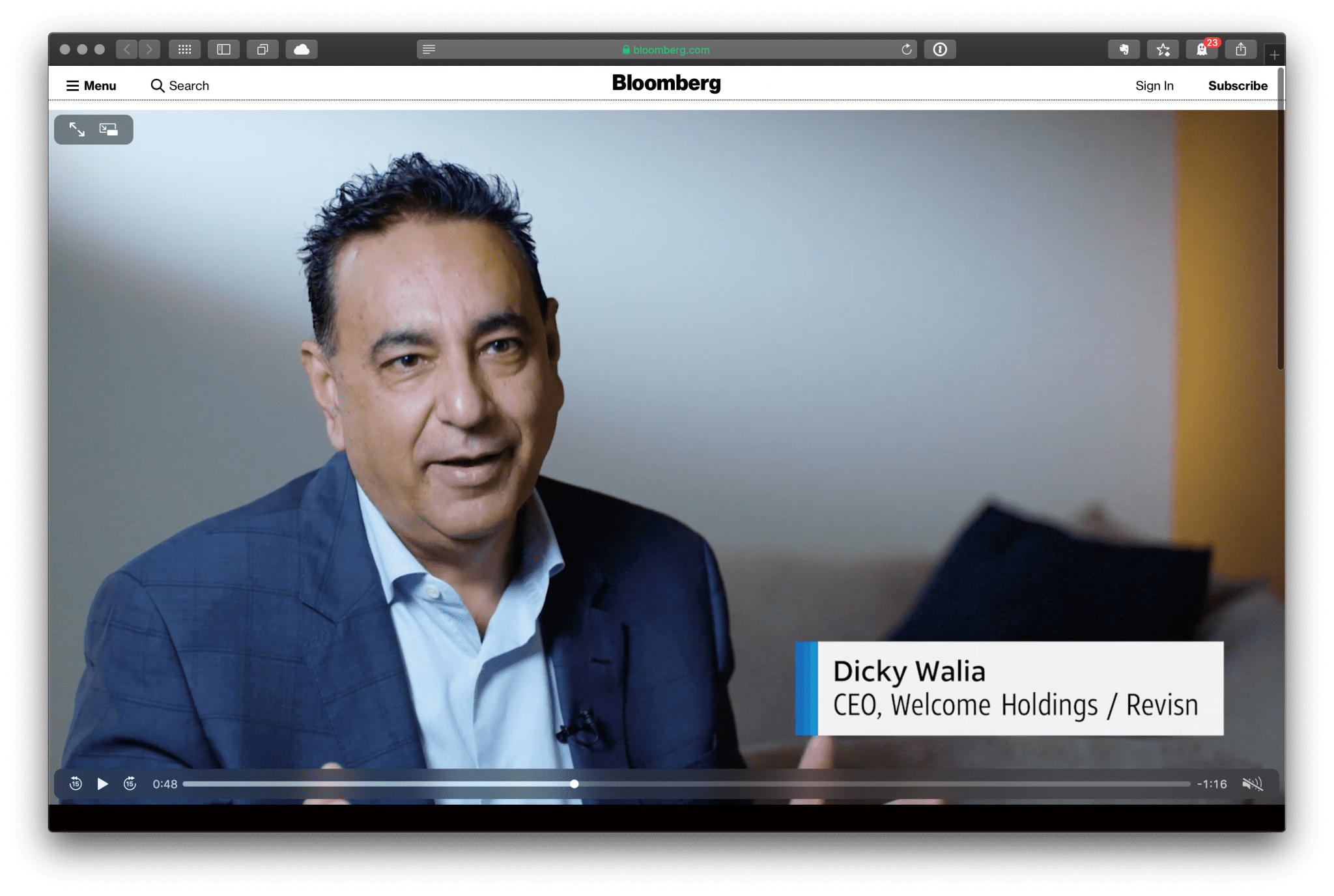 Dicky Walia featured on Bloomberg